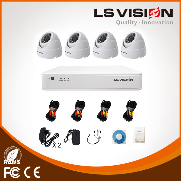 LS VISION Indoor Easy Install H.264 High Profile 4CH AHD Security Camera Kit with 4pcs 2MP 1080P Plastic Dome Camera