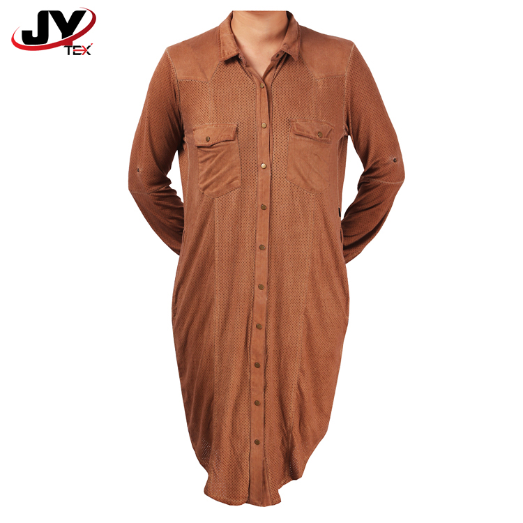 4a930892daf074 Dames zomer lange polo bruin vintage tunieken aangeklaagd fringe button up  shirts jurk met borst pocket