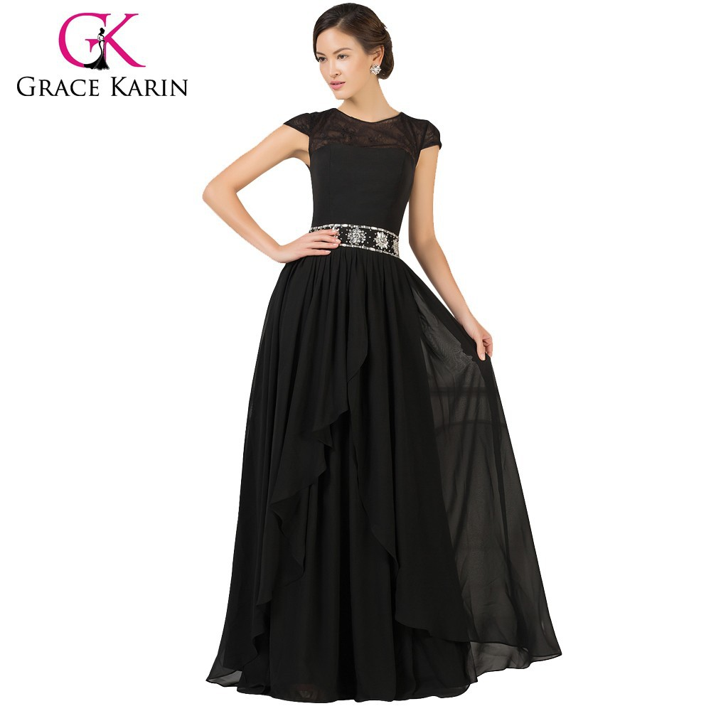 Grace Karin Black Chiffon Long Mother of Bride Formal Dress with Sleeves CL7520-1
