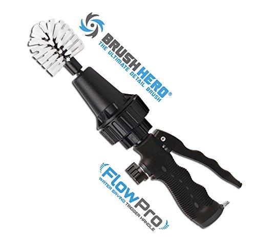 Brush Hero Pro- Wheel Brush with Metal Flow Control Trigger, Premium Water-Powered Turbine for Rims, Engines, Bikes, Equipment, Furniture and More