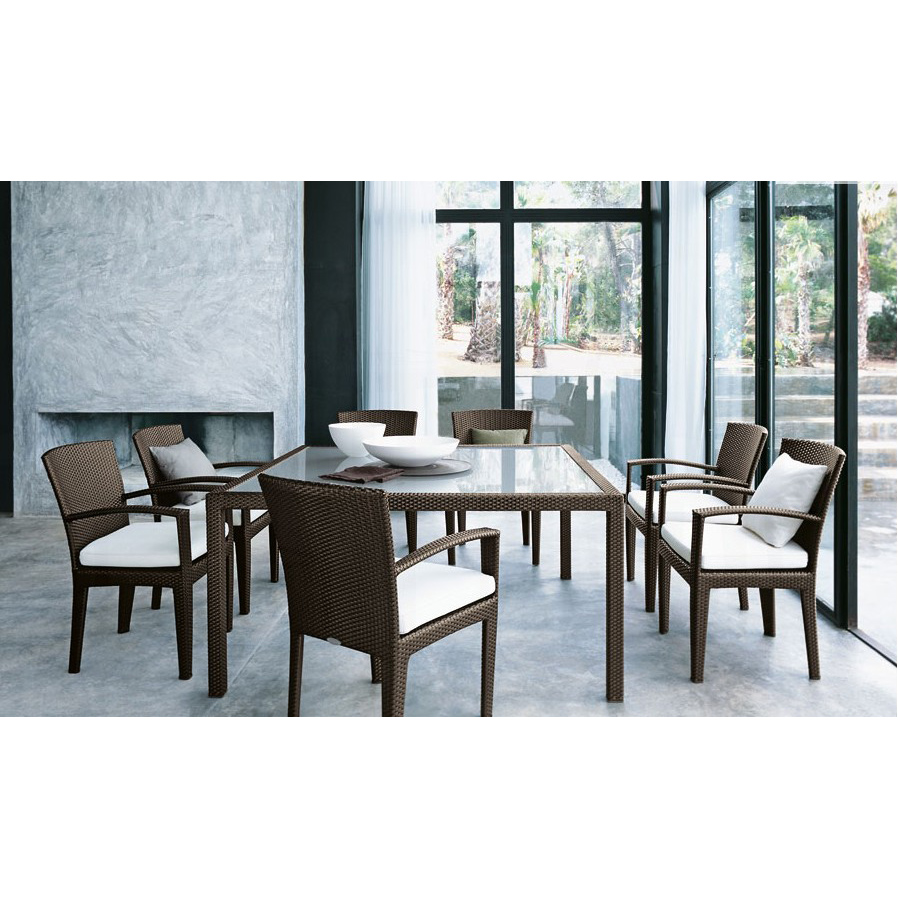 All Weather 7 Piece Outdoor Dining Rattan Furniture Table ...