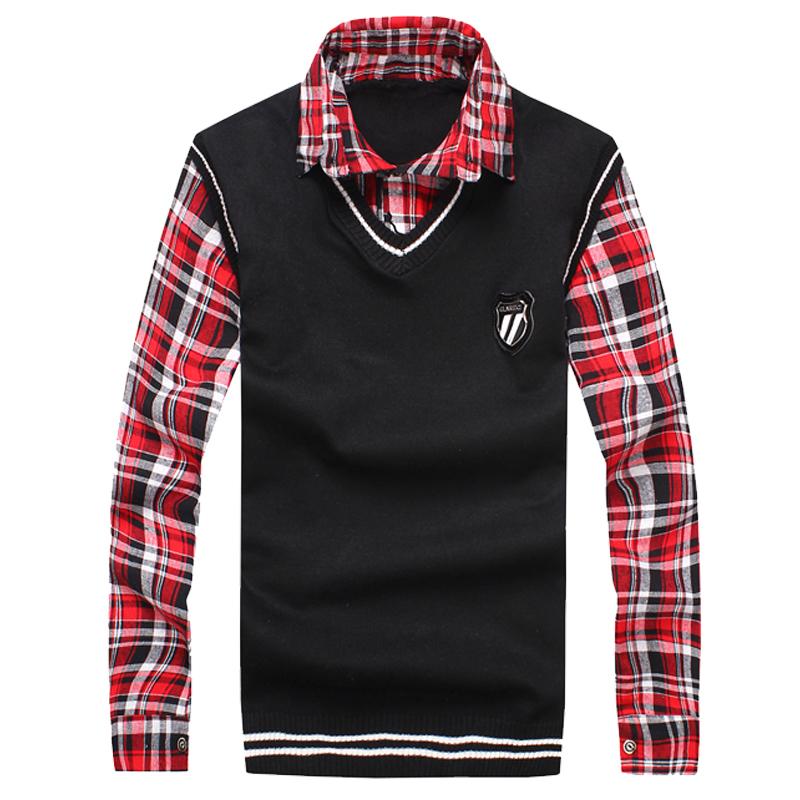 2015 весной поддельные двое мужчин вязать свитер пальто тонкий пуловер мода красавцев трикотажные жилет / V образный свитер