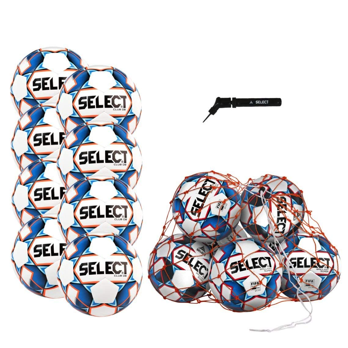 Select Club DB Soccer Ball Package - Pack of 8 Soccer Balls Ball Net Hand Pump, White/Blue, Size 5