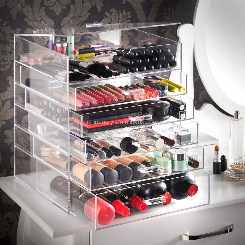 Large 6 Tier Clear Acrylic Makeup Cosmetic Organizer Storage Box guangzhou Drawers Case