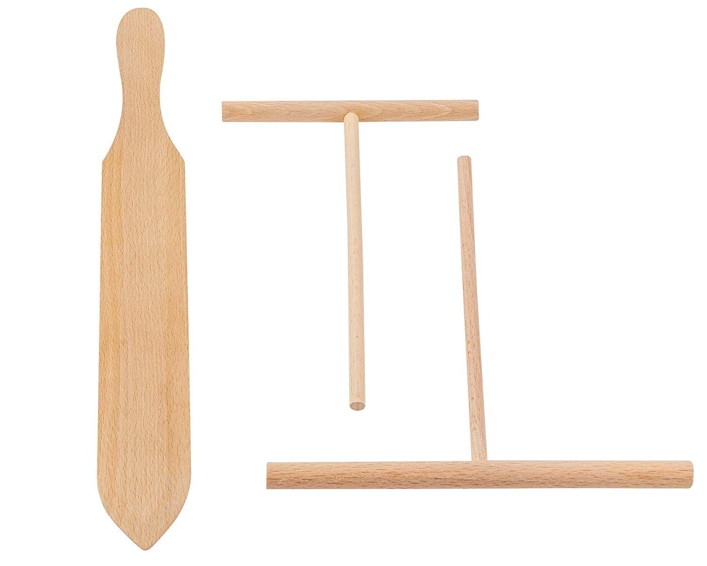 BICB Beechwood Crepe Spreader and Spatula - 3 Piece Set (7.9-inch and 5.7-inch Spreader and 14-inch Spatula)