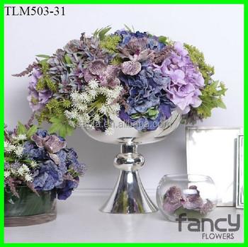 Artificial Hydrangea Flores En Jarrones De Metal Para Arreglos Florales Buy Flores De Hortensias Artificialesfloreros De Metal Para Arreglos