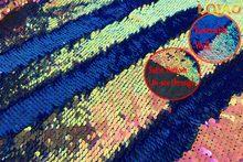 Двусторонняя ткань с блестками «русалка», «рыбья чешуя», 125 см х 20 см, зеленая/черная/Золотая блесток, ткань с пайетками для платья/бикини/нав...(Китай)