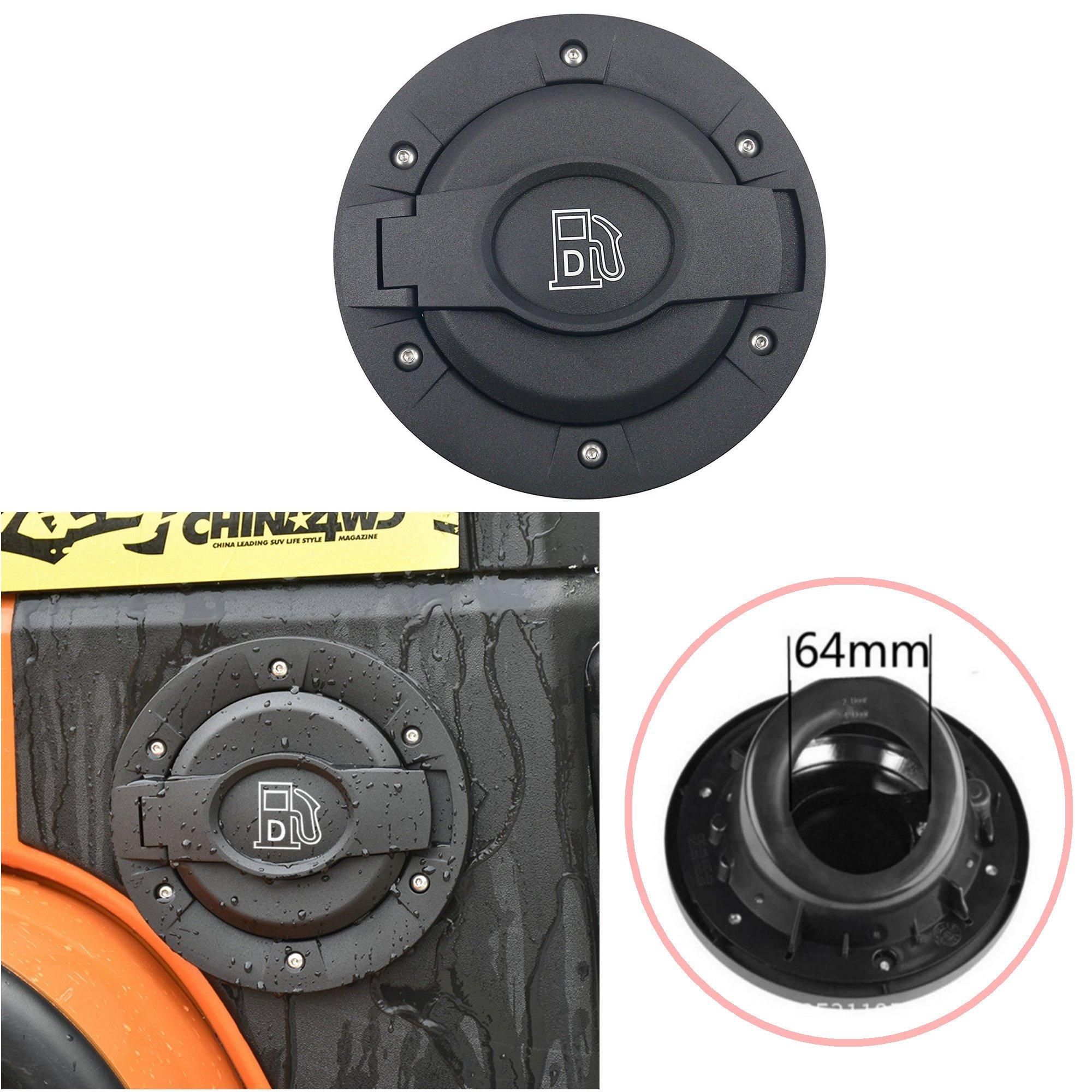 Gas Cap Fuel Filler Tank Door Pop-up Cover Lock for 07-17 Jeep Wrangler JK JKU