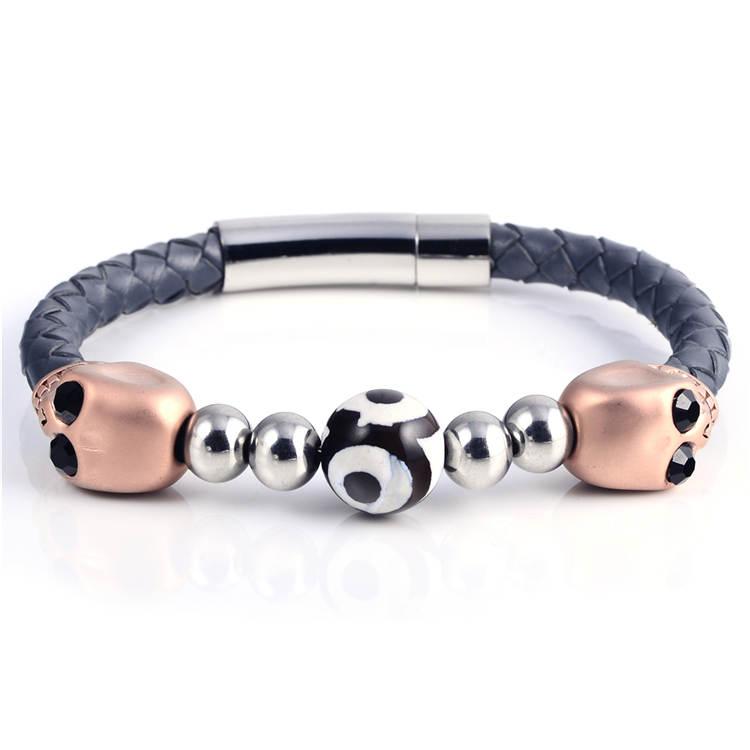 Luxury Black Genuine Leather Braided Man Hand Bracelet Hand Made ...