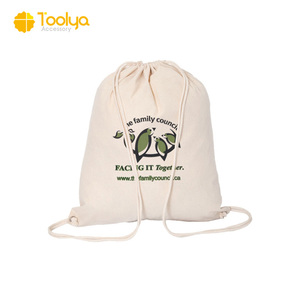 Wholesale printed drawstring shopping tote cotton canvas bag can custom