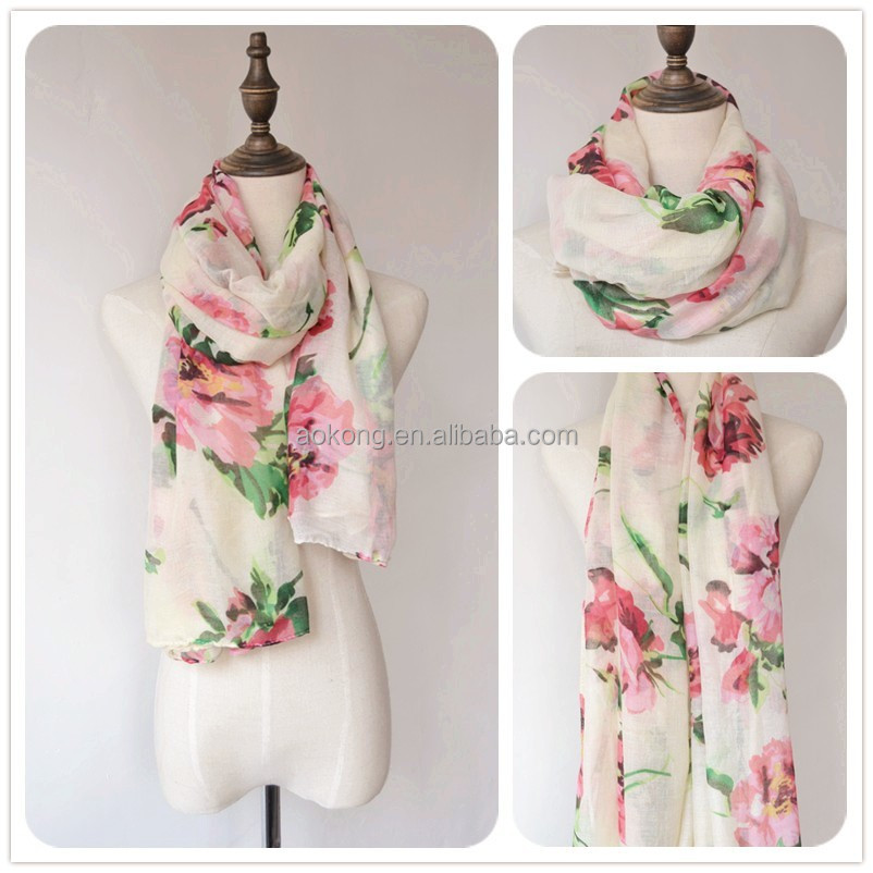 2015 new coming cream floral pareo fashion flower beach towel scarf