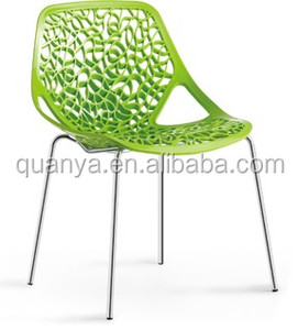 Tree plant shape plastic chair for living room ,metal base dining chair