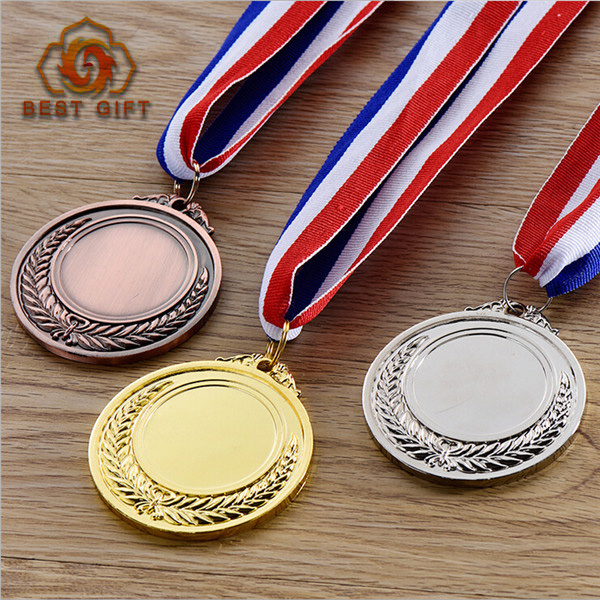 Gold and silver custom blank metal sports medal for honor