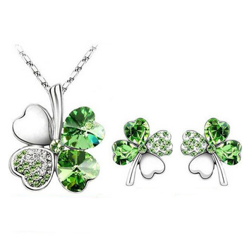 Free shipping fashion crystal Clover Necklace earrings set