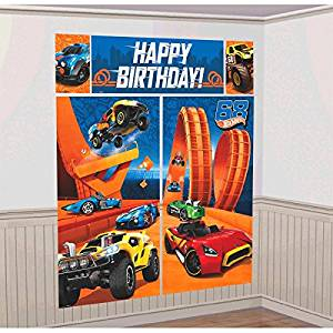 Get Quotations Amscan Fast Riding Hot Wheels Wild Racer Birthday Party Scene Setters Wall Decorating Kit Multi