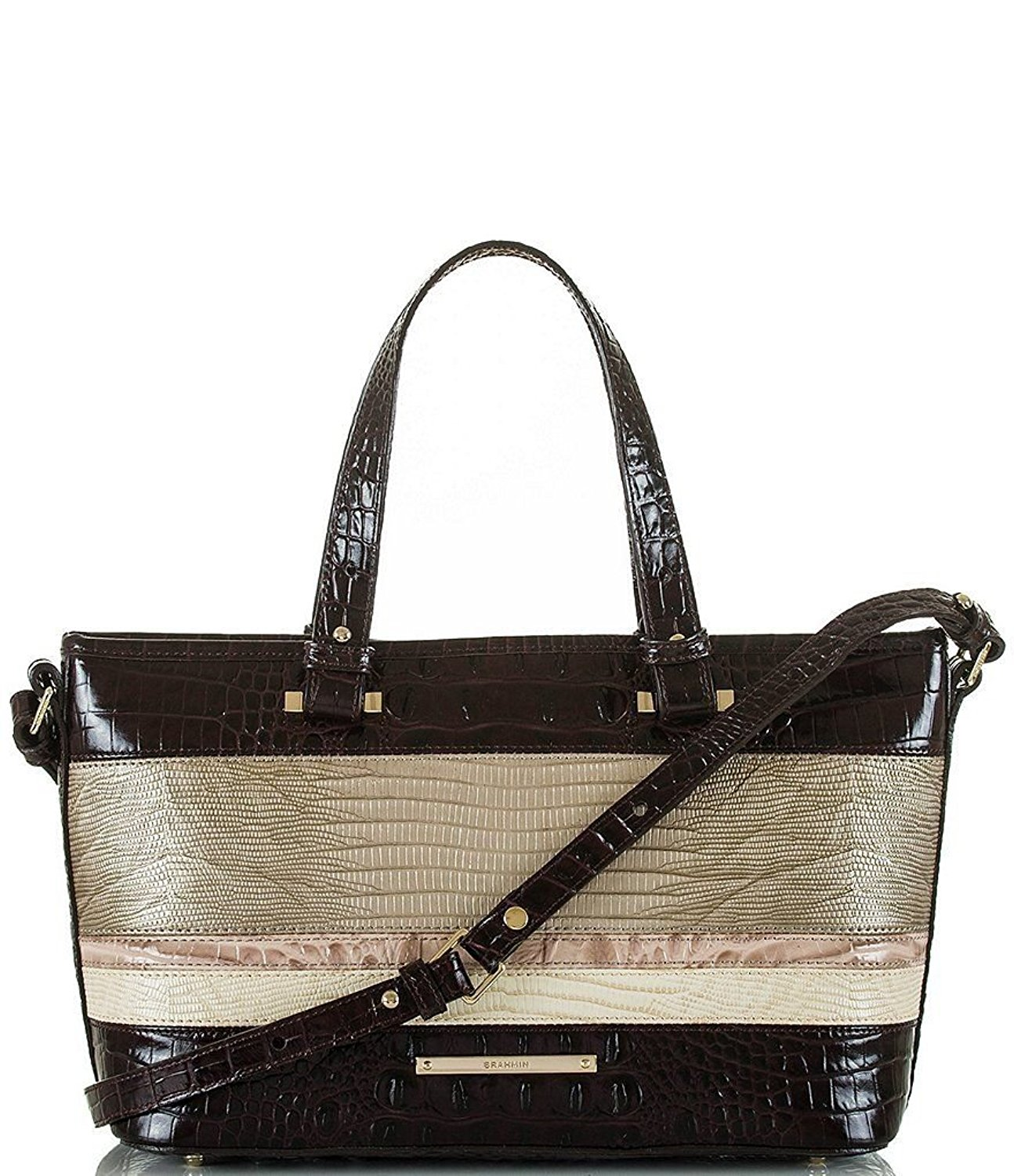 Get Quotations New Authentic Brahmin Small Mini Asher Carryall Tote Sterling Kapoor Tri Texture
