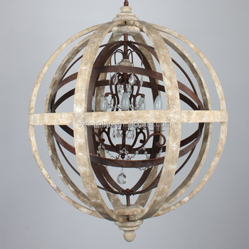Ce Certification Large Orb Chandelier Wood Rustic Iron Cyrstal Pendant Light Newest Wooden