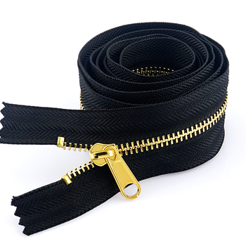 Wholesale High Quality Garment Accessories Gold Teeth Black Metal Zip, Custom Metal Zipper For Clothing