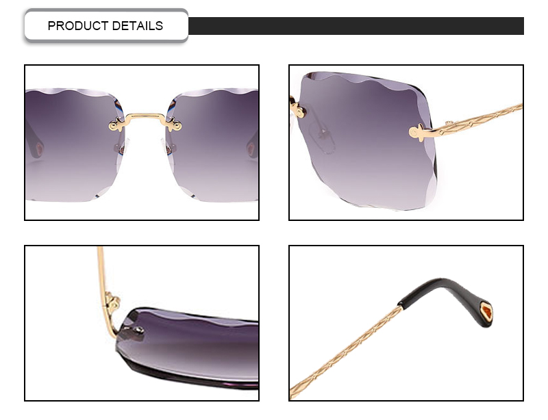 Promotional semi rimless eyeglasses irregular square women sunglasses