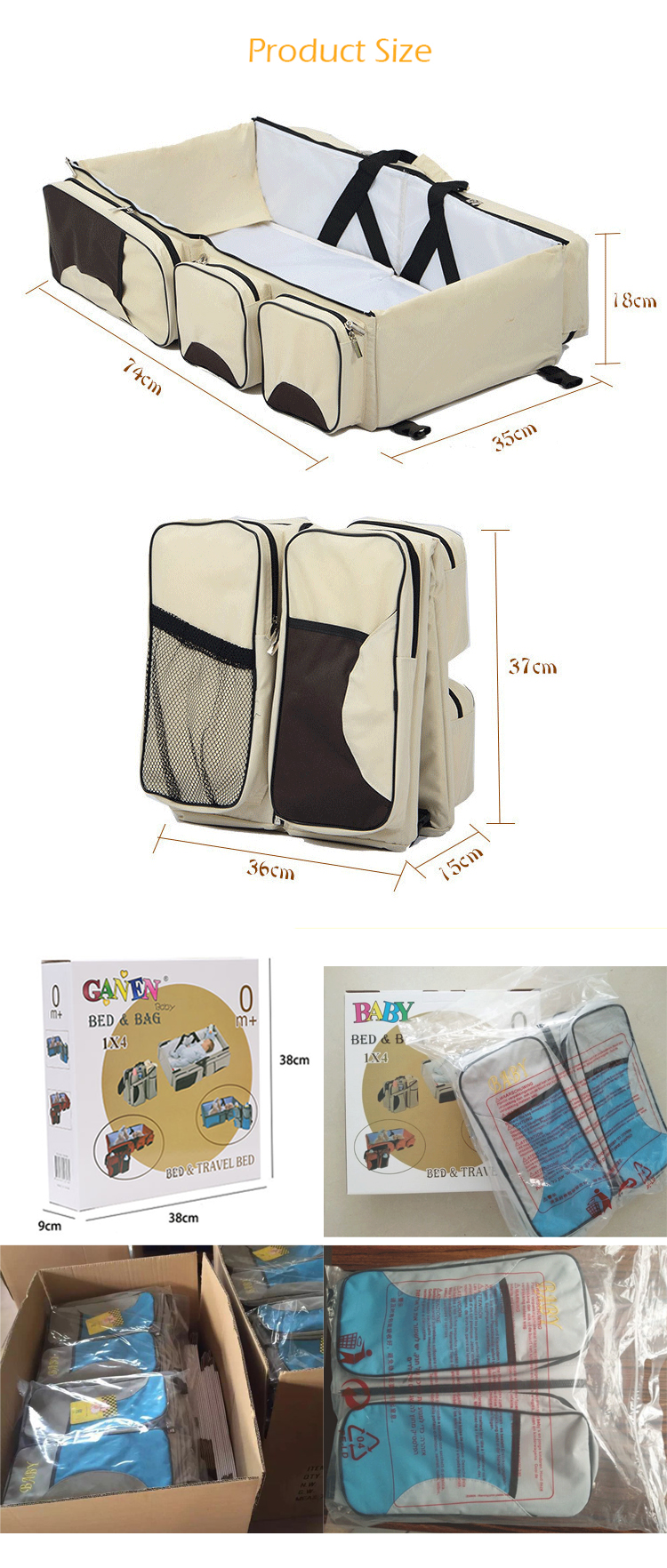 New products multifunctional folding lazy diaper mummy bag carrier travel camping park sleeping baby bed portable