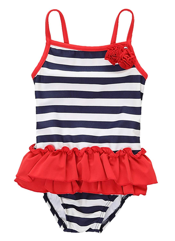 ab701c1dae Get Quotations · Vegatos Toddler Baby Girls Polka Dots One Piece Swimsuit  Swimwear Swimdress
