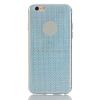 for iPhone 6S Half Clear Blue Color Diamond Grid TPU Case Cover