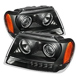 Spyder Auto (PRO-JH-JGC99-LED-BK) Jeep Grand Cherokee Black Halogen LED Projector Headlight - Pair