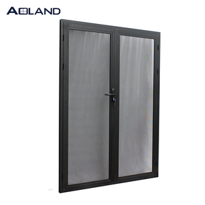 Black aluminium stainless steel safety french doors with lock for villa house
