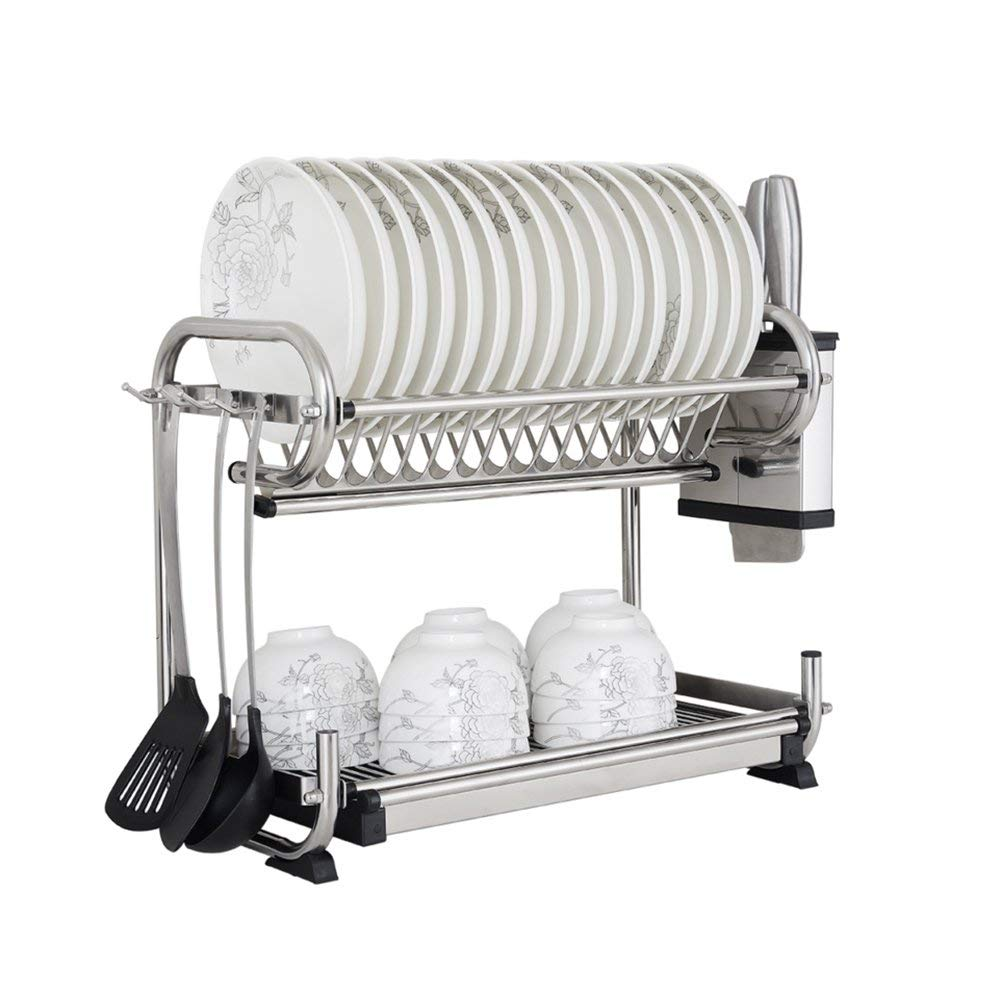 YAN JUNau Stainless Steel Double-Layer Kitchen Rack/Dish Rack/Drain Rack/Dish Rack/Table Rack/Wall Mount (Size : 472538cm)