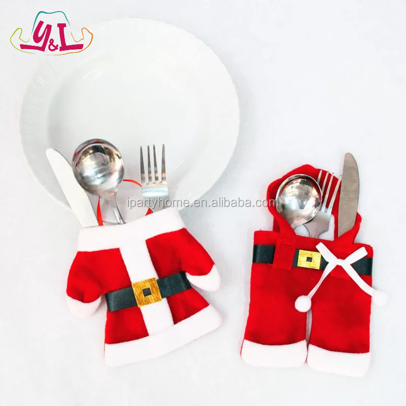 Red Fork Knife Cover Christmas Table Decoration for Home Christmas Promotional Gifts for mom Santa Cutlery Holder 2017