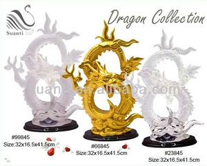 Chinese Gold and White Resin Constellation Dragon Statue for Feng Shui Gifts