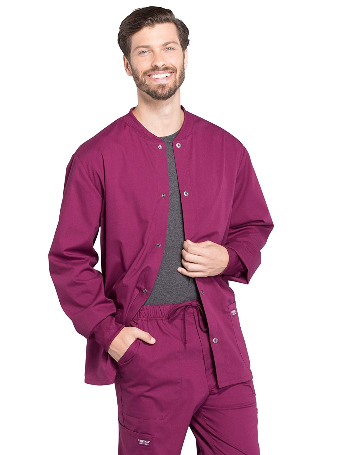 Cherokee Workwear Professionals WW360 Men's Snap Front Warm-Up Scrub Jacket