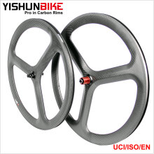 2017 YISHUNBIKE OEM Carbon Tri-spokes Wheels 700c 3 spoke Bicycle Wheel for Road TT bike Cheap Selling