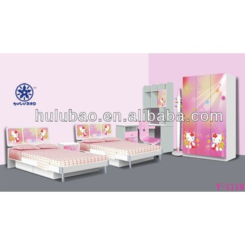 Hello Kitty Toddler Bed.9906 Hello Kitty Pink Pretty Girl Twins Children Bed Double Kids Bed Teens Bed Colorful Photos In Bedroom Set Furniture Buy Children Kids Wooden