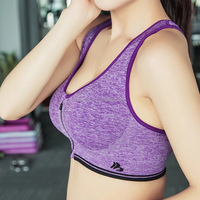 Hot Sale Sexy Seamless Fashion Front Padded Zip-Opening Sports Bra
