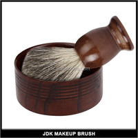 Wholesale natural dark red wood shaving brushes kit with shave soap bowl