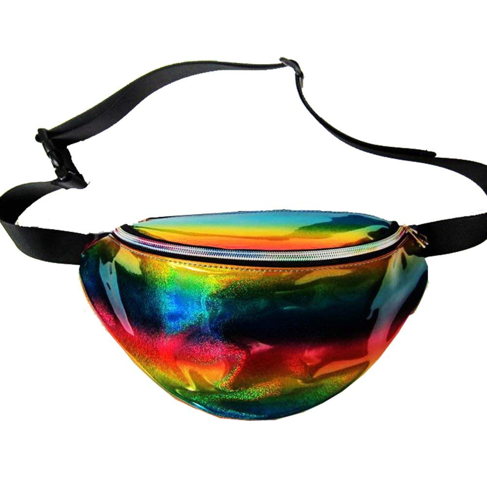Phonyeer Silver Hologram Reflective Fanny Pack Laser Fanny Pack Perfect for Raves and Festivals