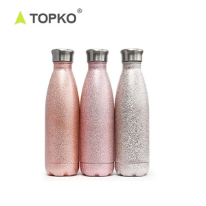 TOPKO Double Walled Stainless Steel Cola Shape Sports Water Bottle No Sweating, Keeps Your Drink Hot & Cold Sports Water Bottle