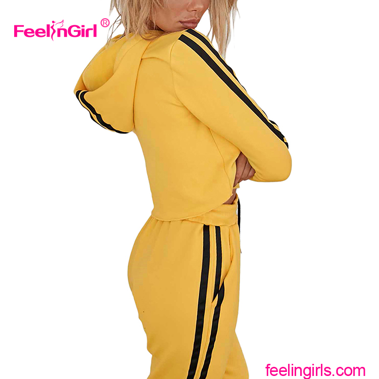 Low Piece Custom Gym Double Side Stripe Yellow Ladies Crop Top