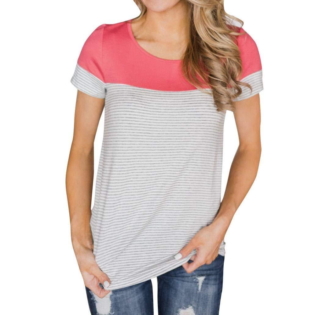 Zainafacai Blouse,Women's Short Sleeve Tee Round Neck Color Block Striped T-Shirt Top
