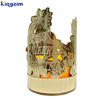 Christmas deer gold plated brass candle holder
