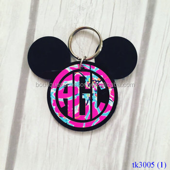 Monogrammed Mickey Mouse Anahtarlık Minnie Mouse Monogrammed