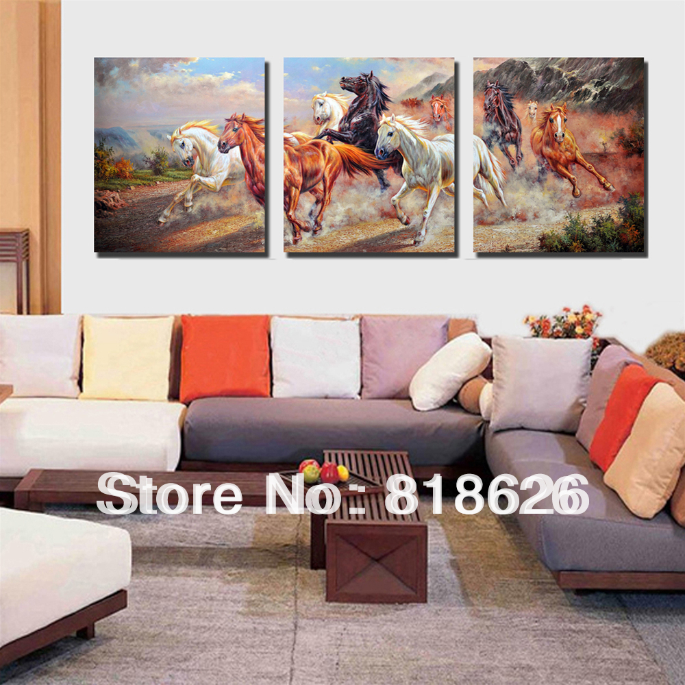 Large Wall Pictures For Living Room: 3 Panels Modern Canvas Horse Painting Large Wall Hunging