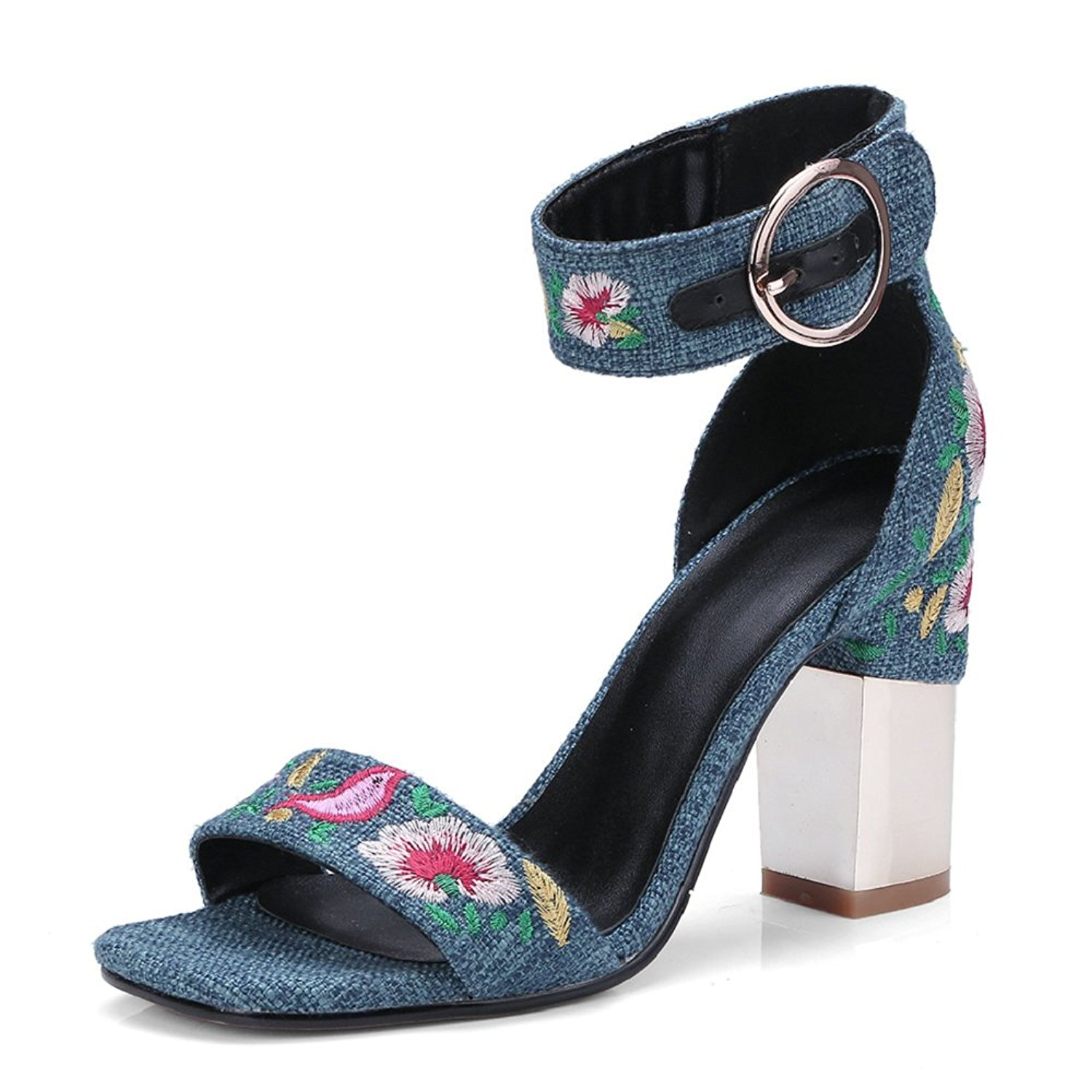 b5785afbf50 Buy AnMengXinLing Womens Heeled Sandals Ankle Straps Suede Gladiator ...