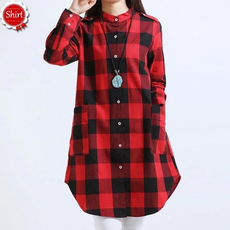 87485a0cd0c12 Get Quotations · Women plaid shirt women 2015 new Loose Linen plus size  blouse Cotton Texture Long Sleeve section