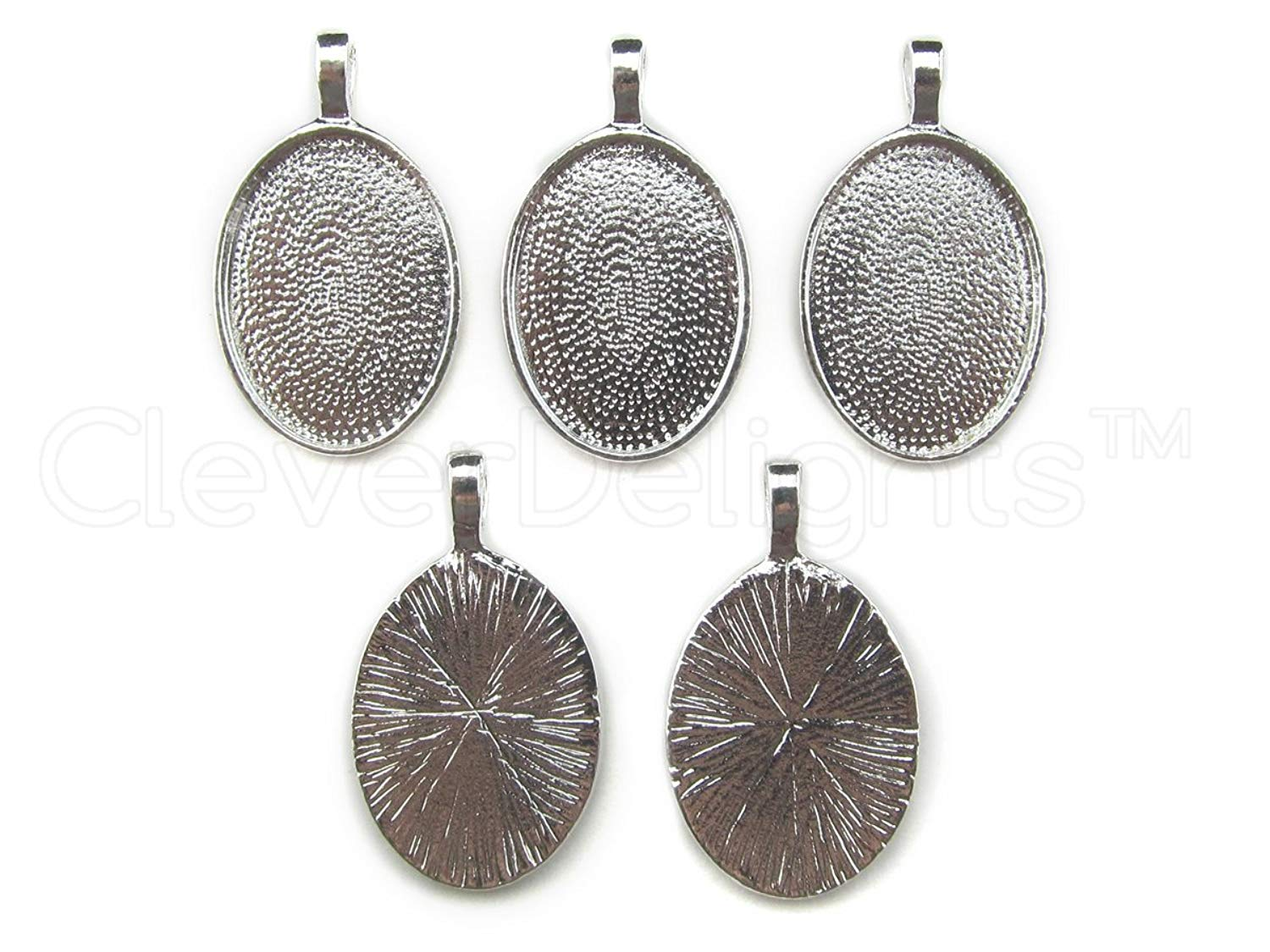 CleverDelights 5 Oval Pendant Trays - 18x25mm - Shiny Silver Color – 18 x 25 mm