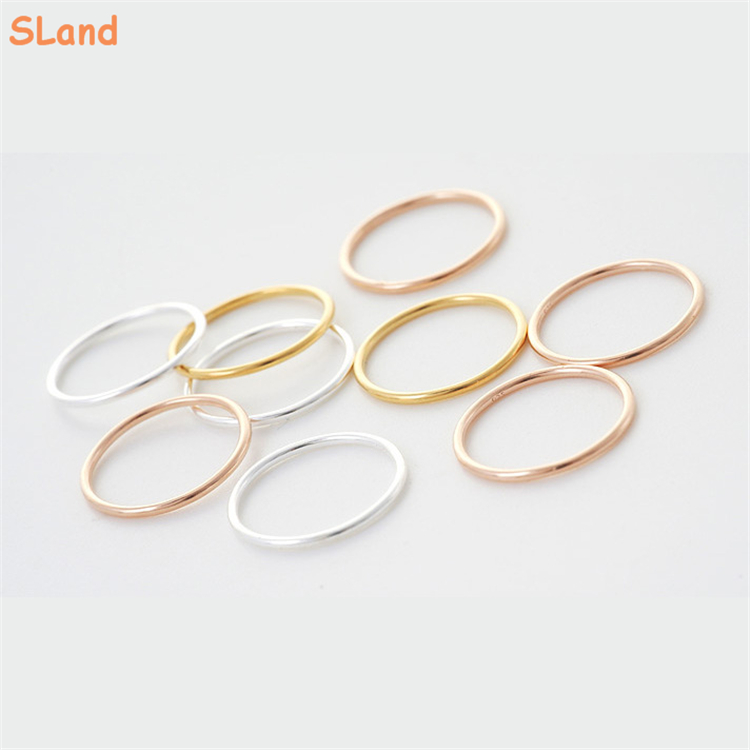 SLand Jewelry Manufacturer Low MOQ wholesale <strong>Silver</strong>/Gold/Rose gold solid stackable 925 sterling <strong>silver</strong> thin rings for women