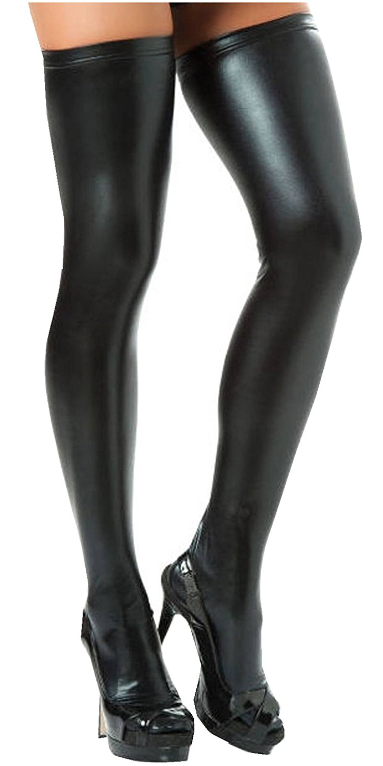 de21cde64 Get Quotations · Igeon Women s PVC Leather Wet Look Tights Thigh High  Stockings