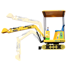 Children play game electric kids mini excavator