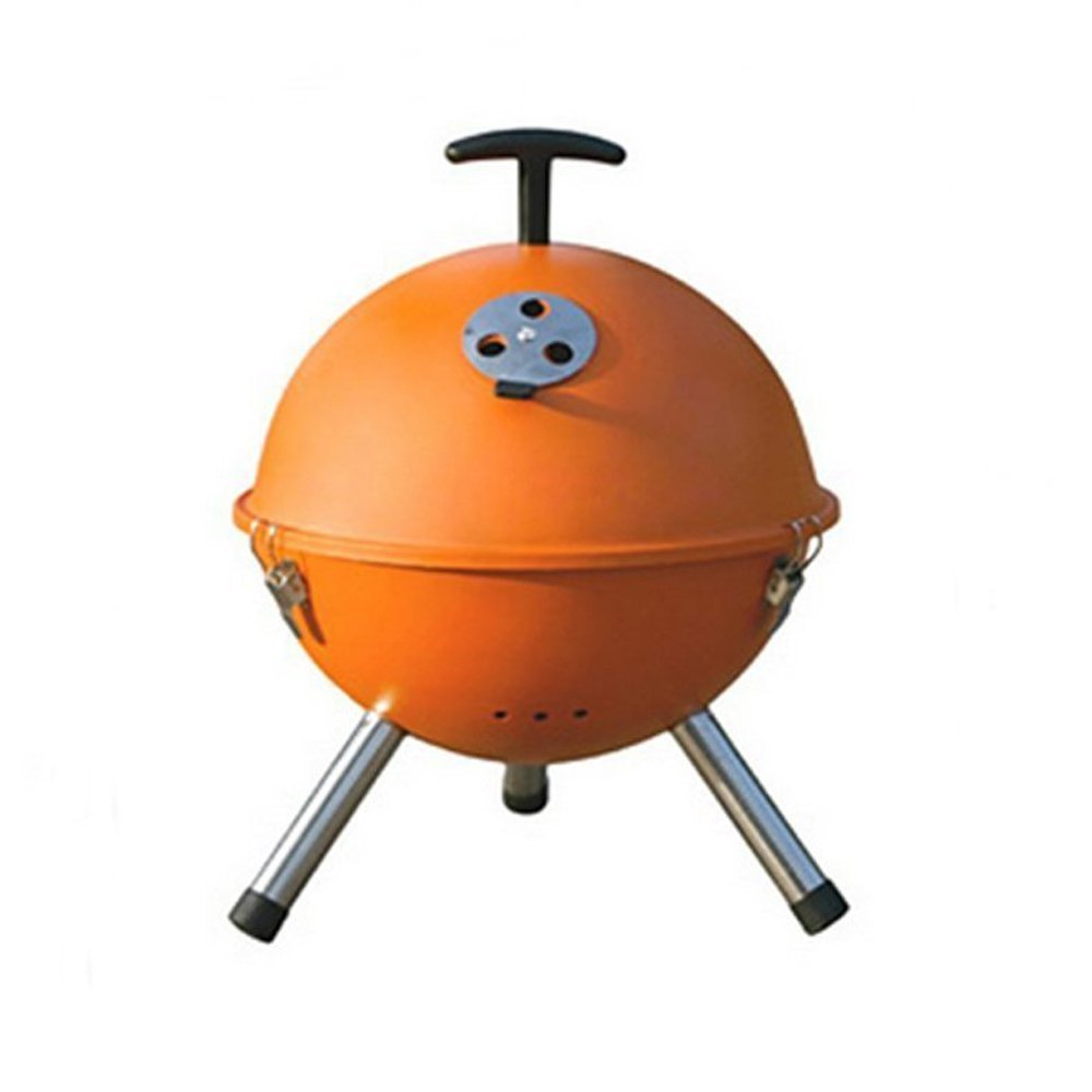 SUPOW(TM) Folding Portable BBQ Circular Round Barbecue Grill Campfire Cooking Set Furnace Outdoor Carbon Roti Oven Courtyard Cookware (Orange)